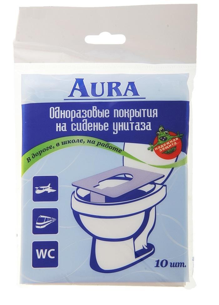 """Одноразовые покрытия на сиденье унитаза """"AURA"""", 10 шт."""