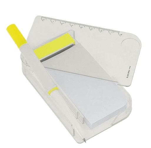 Блокнот с ручкой, линейка, лупа, 11 х 6,5 см., белый