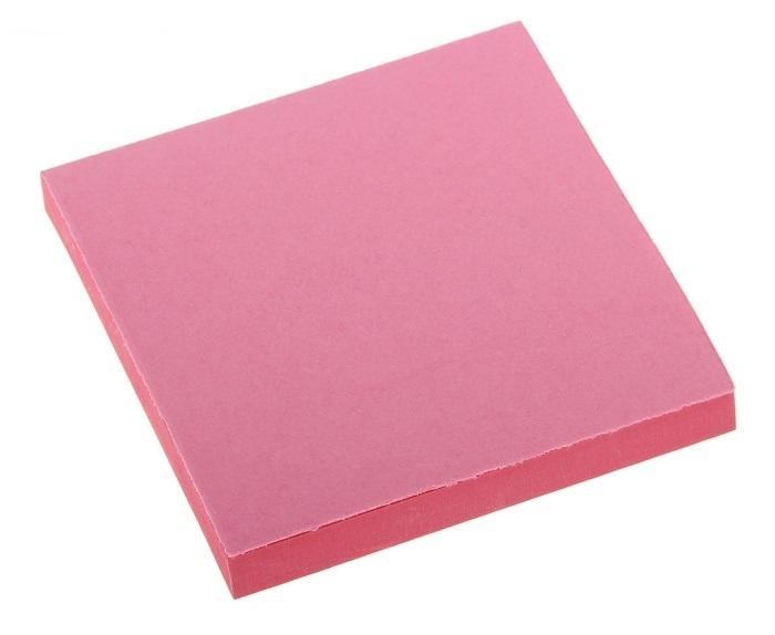 Блок бумаги с липким краем, 75 × 75 мм., 100 листов, розовый