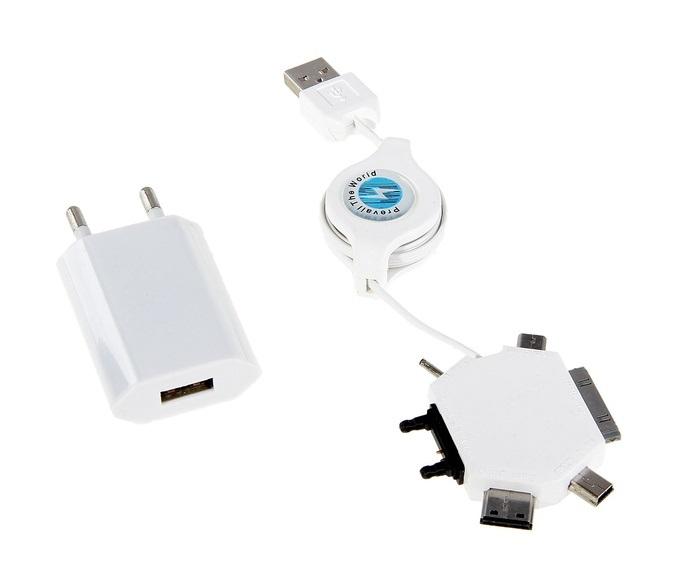 Универсальное зарядное устройство для сотовых телефонов с переходниками, пластик